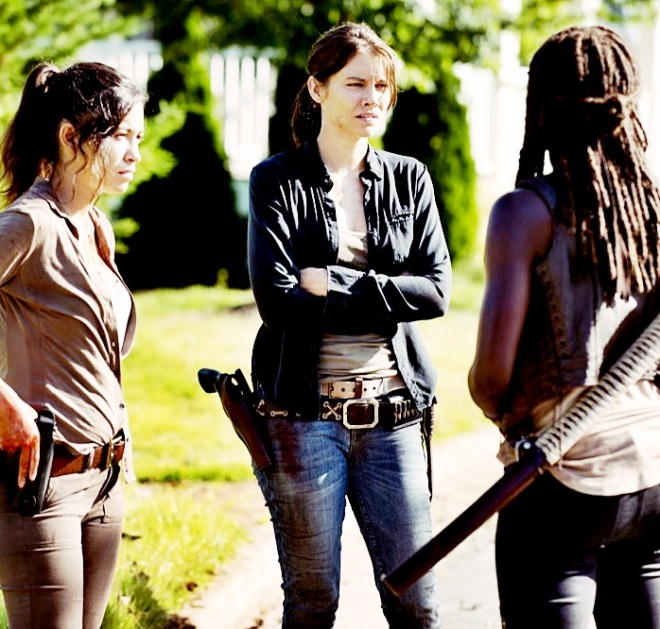 Christian Serratos as Rosita Espinosa, Lauren Cohan as Maggie Greene and Danai Gurira as Michonne - The Walking Dead _ Season 5, Episode 5 - Photo Credit: Gene Page/AMC